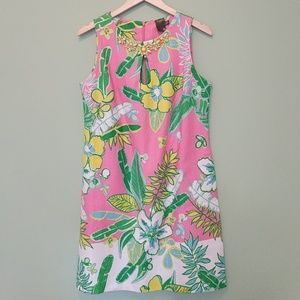 Taylor Shift Dress Floral Beaded SZ 10 Pink Yellow